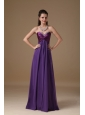 Beautiful Purple Empire Prom Dress Sweetheart Taffeta and Chiffon Beading Floor-length