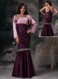 Custom Made Dark Purple Mermaid Spaghetti Straps Evening Dress Taffeta Beading Floor-length