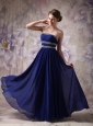 Custom Made Peacock Blue Empire Strapless Evening Dress Chiffon Beading Floor-length