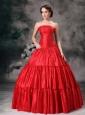 Custom Made Red Ball Gown Strapless Quinceanera Dress Taffeta Ruch Floor-length