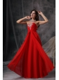 Custom Made Red Empire Sweetheart Prom Dress Chiffon Beading and Ruch