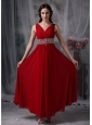 Custom Made Red Empire V-neck Chiffon Prom / Evening Dress with Beading