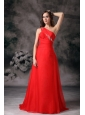 Custom Made Red One Shoulder Plus Size Prom / Evening Dress Chiffon Appliques