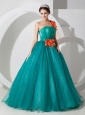 Custom Made Teal A-line One Shoulder Quinceanera Dress Organza Hand Made Flowers