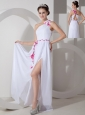 Custom Made White Chiffon One Shoulder Prom Dress with Sash