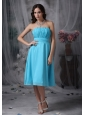 Customize Aqua Blue Cocktail Dress Empire Strapless Chiffon Ruch Knee-length