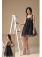 Cute Black A-line Straps Organza Beading Evening Dress Mini-length