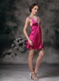 Cute Fuchsia A-line V-neck Cocktail Dress Mini-length Taffeta Beading