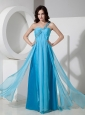 Discount Baby Blue One Shoulder Prom Dress Chiffon Beading