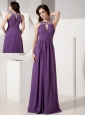 Discount Dark Purple Empire Scoop Neck Evening Dress Chiffon Beading Floor-length