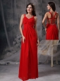 Discount Red Empire Straps Prom / Celebrity Dress Chiffon Beading and Ruch