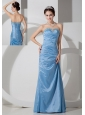 Elegant Baby Blue Column Sweetheart Prom Dress Taffeta Beading and Ruch