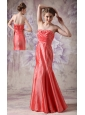 Elegant Coral Red Column Sweetheart Prom / Evening Dress Taffeta Beading