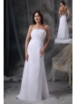 Elegant White Column Strapless Prom / Celebrity Dress Chiffon Beading and Ruch