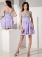 Exquisite Lilac Empire Strap Evening Dress Chiffon Beading Mini-length