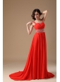 Gorgeous Red Evening Dress A-line Straps Chiffon Beading Court Train