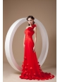 Gorgeous Red One Shoulder Prom / Evening Dress Taffeta Hand Made Flowers Brush Train