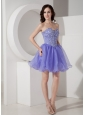 Latest Lilac Short  Sweetheart Prom Dress with Beading Mini-length