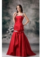 Latest Red Mermaid Straps Evening Dress Satin Appliques Brush Train