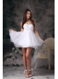 lovely White A-line Cocktail Dress Sweetheart  Organza Mini-length