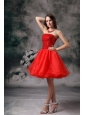 Low Price Red A-line Strapless Cocktail Dress Organza Mini-length