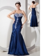Modern Navy Blue Mermaid Prom Dress with Ruch and Beading