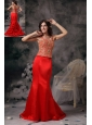 Modest Red Mermaid Straps Satin Beading Evening Dress Brush Train