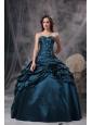 Modest Teal Ball Gown Sweetheart Quinceanea Dress Taffeta Appliques Floor-length