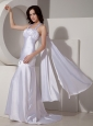 Modest White Halter Top Watteau Train Prom Dress