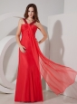 Red Empire V-neck Chiffon  Prom Dress with Beading