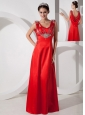 Romantic Red Empire V-neck Prom Dress Satin Beading Floor-length