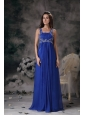 Royal Blue Straps Prom Dress Chiffon Beading Floor-length