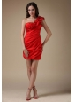 Sexy Red Column One Shoulder Cocktail Dress Elastic Woven Satin Hand Made Flower and Ruch Mini-length