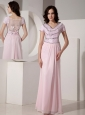 Simple Baby Pink Empire V-neck Evening Dress Chiffon Beading Floor-length