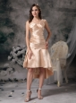 Simple Champagne Cocktail Dress Column Sweethear Satin Ruch High-low