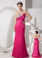 Vintag Hot Pink Column Sweetheart Prom Dress Satin Beading and Ruch Brush Train