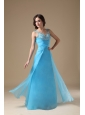 Aqua Blue Column Straps Prom Dress Organza Beading and Ruch