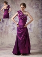 Beautiful Eggplant Purple Column One Shoulder Prom Dress Taffeta Beading And Hand Made Flowers Floor-length