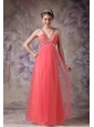 Best Watemelon Red Tulle Prom / Evening Dress with Beading