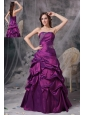 Classical Purple A-line Strapless Prom Dress Taffeta Beading