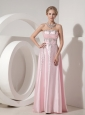 Custom Made Baby Pink Evening Dress Empire Strapless  Elastic Woven Satin Beading Floor-length