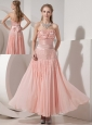 Customize Light Pink Evening Dress Column Strapless Chiffon and Taffeta Beading Ankle-length