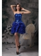 Cute Royal Blue Evening Dress A-line Sweetheart Organza Beading Mini-length