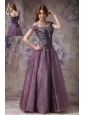 Elegant Dark Purple A-line Off The Shoulder Prom Dress Taffeta and Organza Beading Floor-length