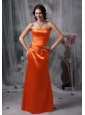 Elegant Orange Red Prom Dress Column / Sheath Strapless