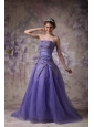 Elegant Purple A-line Strapless Prom / Evening Dress with Appliques