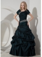 Elegant Teal A-line Scoop Taffeta Beading Evening Dress Floor-length
