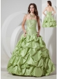 Elegant Yellow Green A-line Strapless Prom Dress Taffeta Appliques Floor-length