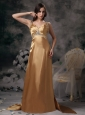 Gold Straps Elegant Prom Dress Taffeta Beading Brush Train