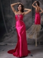 Hot Pink Sweetheart Prom Dress Satin Beading and Ruch Brush Train